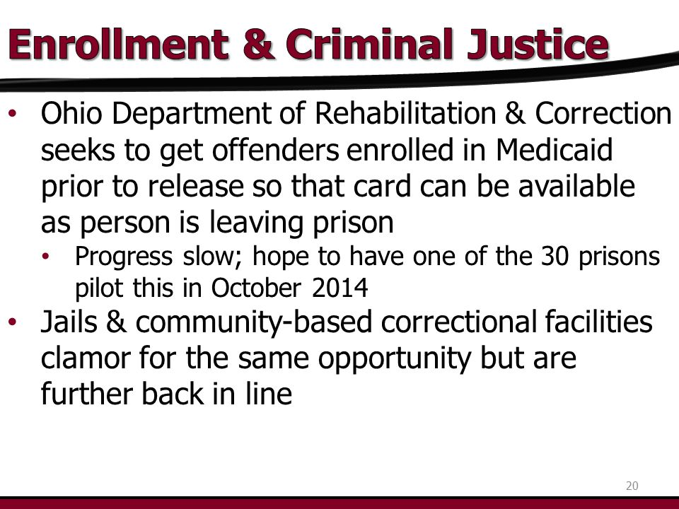 Ohio Department of Rehabilitation & Correction seeks to get offenders enrolled in Medicaid prior to release so that card can be available as person is