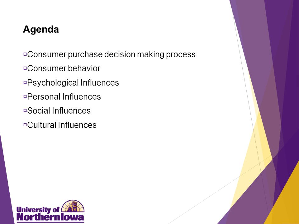 Agenda  Consumer purchase decision making process  Consumer behavior  Psychological Influences  Personal Influences  Social Influences  Cultural Influences