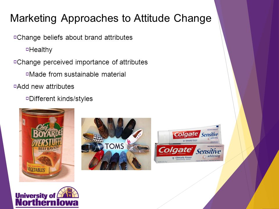 Marketing Approaches to Attitude Change  Change beliefs about brand attributes  Healthy  Change perceived importance of attributes  Made from sustainable material  Add new attributes  Different kinds/styles
