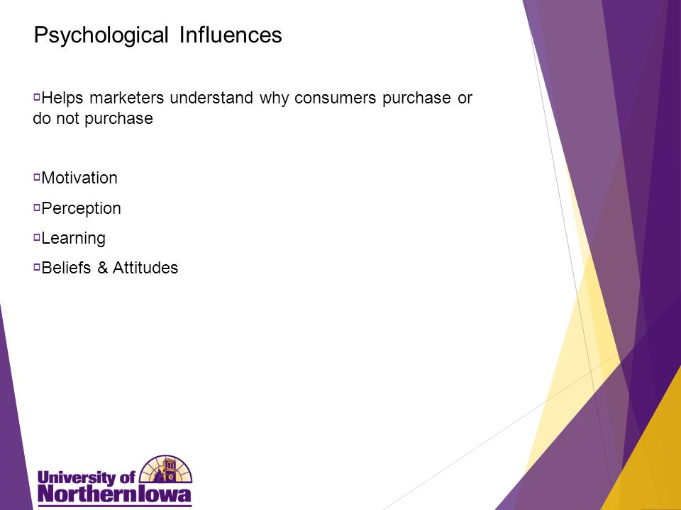 Psychological Influences  Helps marketers understand why consumers purchase or do not purchase  Motivation  Perception  Learning  Beliefs & Attitudes