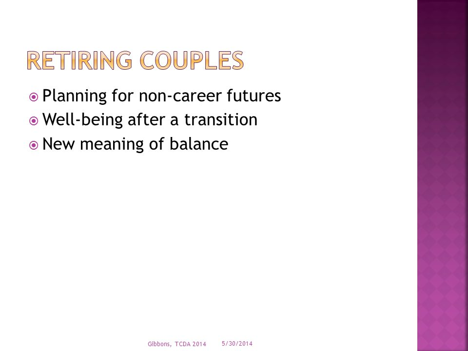  Planning for non-career futures  Well-being after a transition  New meaning of balance 5/30/2014 Gibbons, TCDA 2014