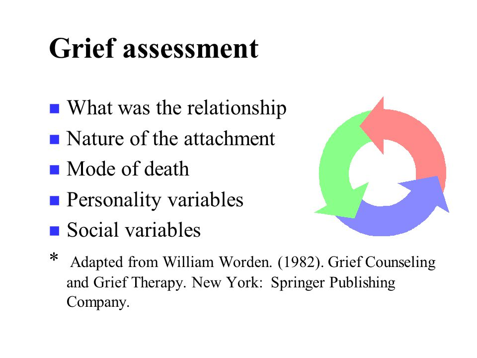 Grief assessment n What was the relationship n Nature of the attachment n Mode of death n Personality variables n Social variables * Adapted from William Worden.