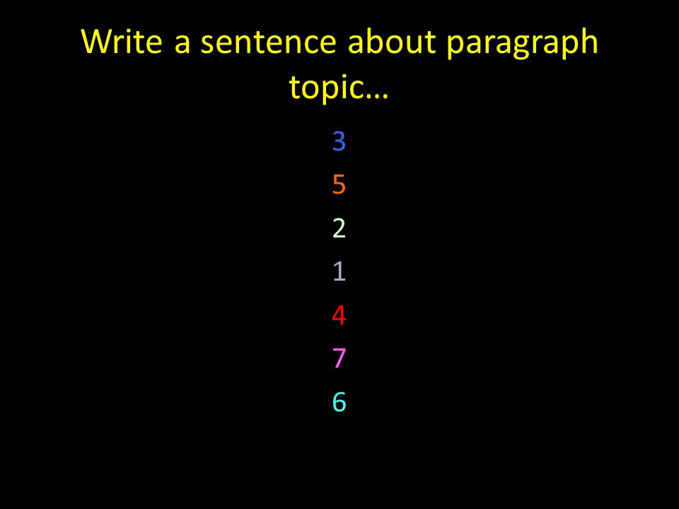 Write a sentence about paragraph topic… 3 5 2 1 4 7 6