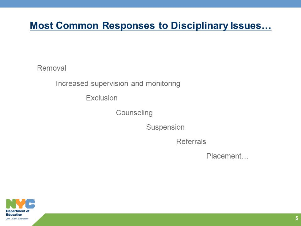 Most Common Responses to Disciplinary Issues… Removal Increased supervision and monitoring Exclusion Counseling Suspension Referrals Placement… 5