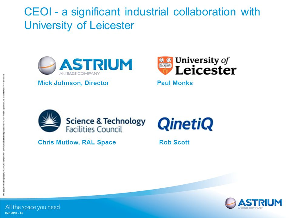 Dec 2010 - 14 CEOI - a significant industrial collaboration with University of Leicester Mick Johnson, DirectorPaul Monks Chris Mutlow, RAL SpaceRob Scott