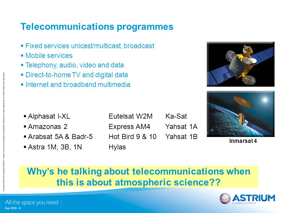 Dec 2010 - 6  Fixed services unicast/multicast, broadcast  Mobile services  Telephony, audio, video and data  Direct-to-home TV and digital data  Internet and broadband multimedia  Alphasat l-XLEutelsat W2MKa-Sat  Amazonas 2Express AM4Yahsat 1A  Arabsat 5A & Badr-5Hot Bird 9 & 10 Yahsat 1B  Astra 1M, 3B, 1NHylas Telecommunications programmes Why's he talking about telecommunications when this is about atmospheric science .