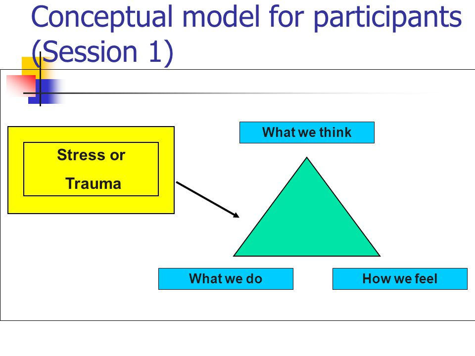 Conceptual model for participants (Session 1) What we think How we feelWhat we do Stress or Trauma