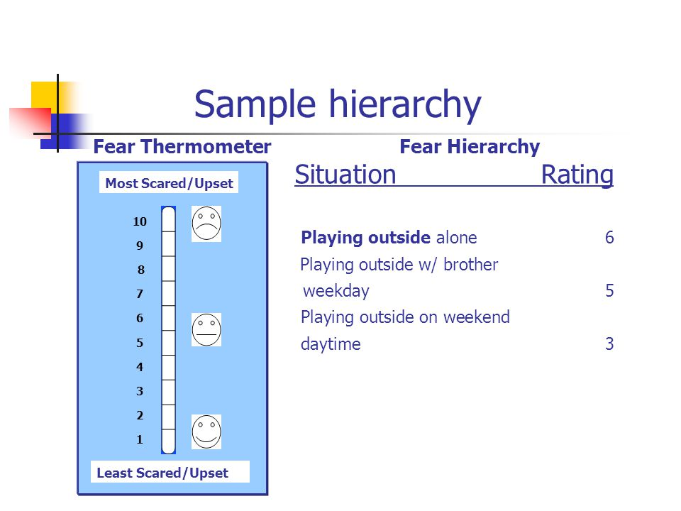 Sample hierarchy SituationRating Playing outside alone 6 Playing outside w/ brother weekday 5 Playing outside on weekend daytime 3 Least Scared/Upset Most Scared/Upset 10 9 8 7 6 5 4 3 2 1 Fear HierarchyFear Thermometer