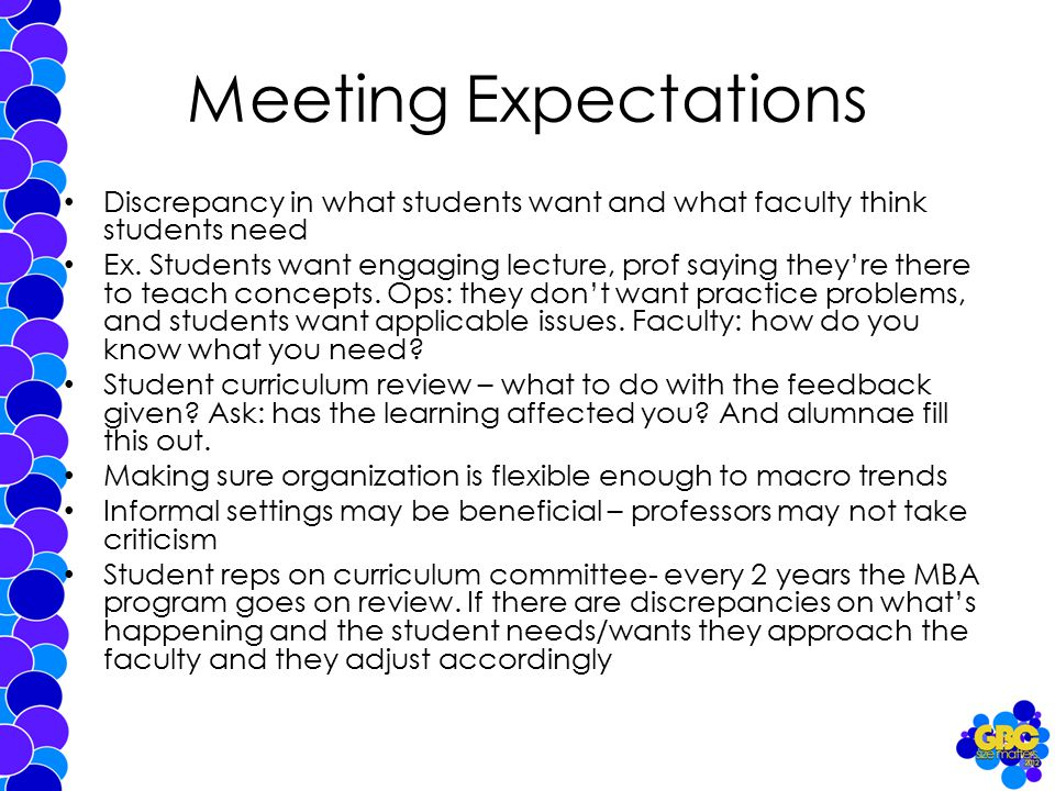 Meeting Expectations Discrepancy in what students want and what faculty think students need Ex.