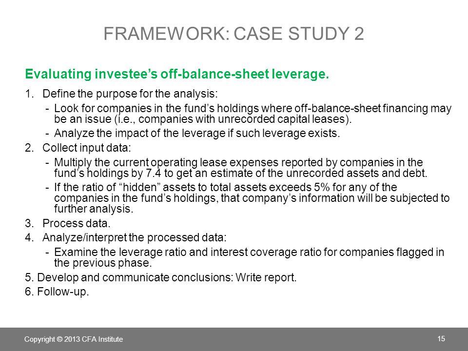 FRAMEWORK: CASE STUDY 2 Evaluating investee's off-balance-sheet leverage.