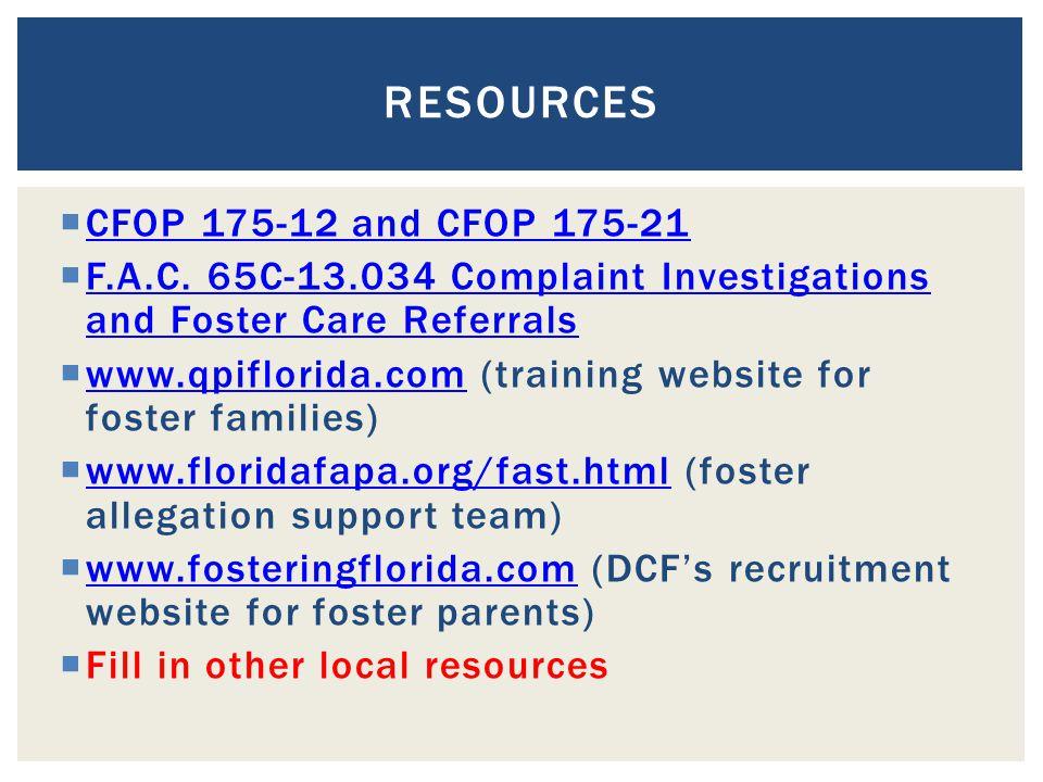  CFOP 175-12 and CFOP 175-21 CFOP 175-12 and CFOP 175-21  F.A.C.