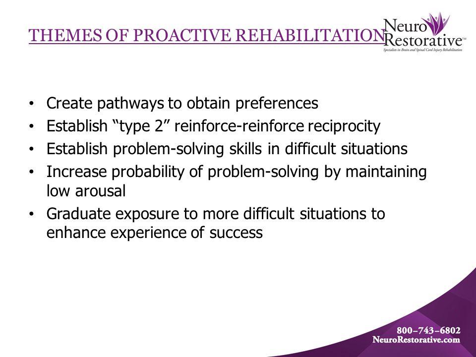 "THEMES OF PROACTIVE REHABILITATION Create pathways to obtain preferences Establish ""type 2"" reinforce-reinforce reciprocity Establish problem-solving"