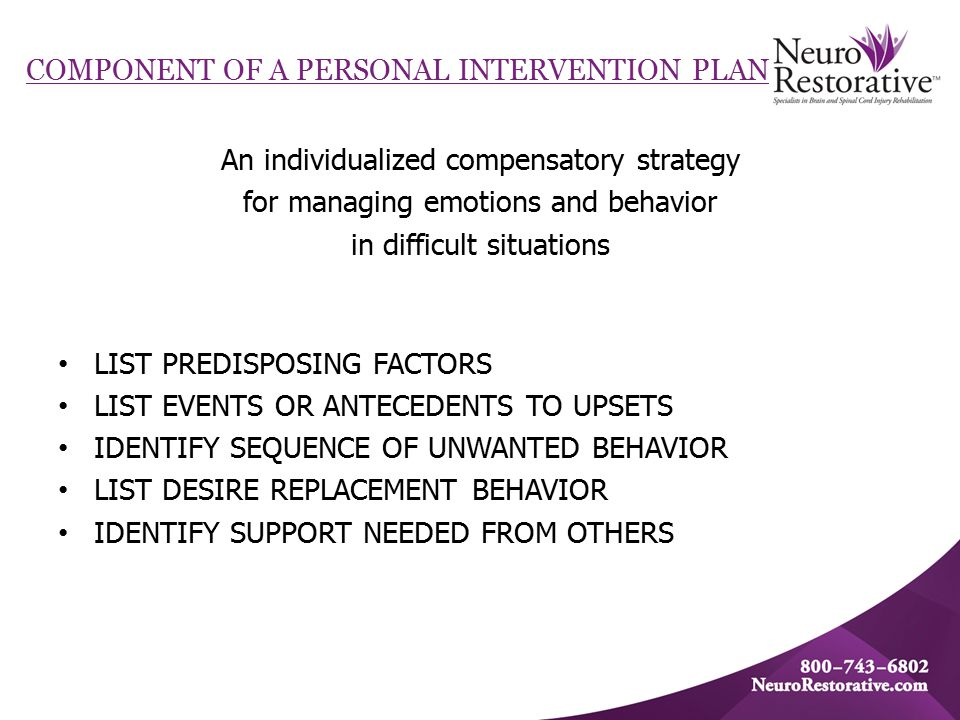 COMPONENT OF A PERSONAL INTERVENTION PLAN An individualized compensatory strategy for managing emotions and behavior in difficult situations LIST PREDISPOSING FACTORS LIST EVENTS OR ANTECEDENTS TO UPSETS IDENTIFY SEQUENCE OF UNWANTED BEHAVIOR LIST DESIRE REPLACEMENT BEHAVIOR IDENTIFY SUPPORT NEEDED FROM OTHERS