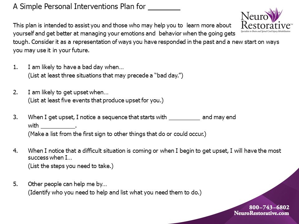 A Simple Personal Interventions Plan for ________ This plan is intended to assist you and those who may help you to learn more about yourself and get