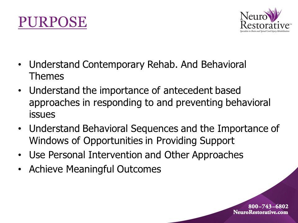 PURPOSE Understand Contemporary Rehab.