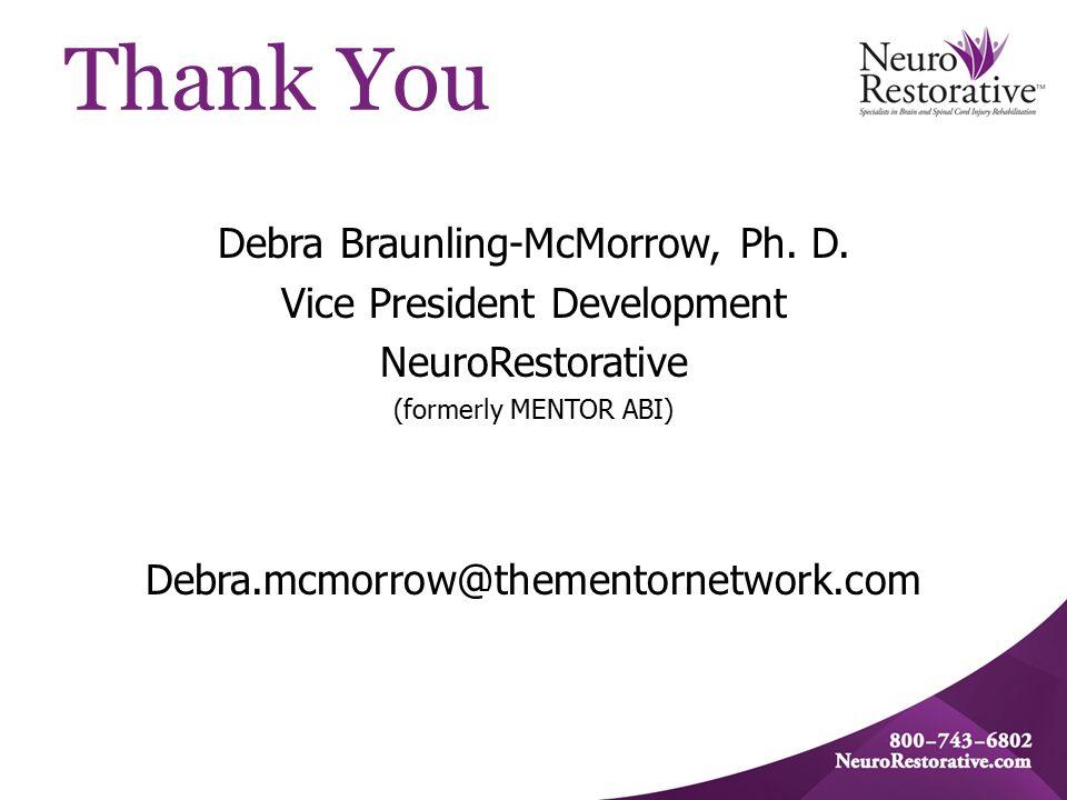 Thank You Debra Braunling-McMorrow, Ph. D.
