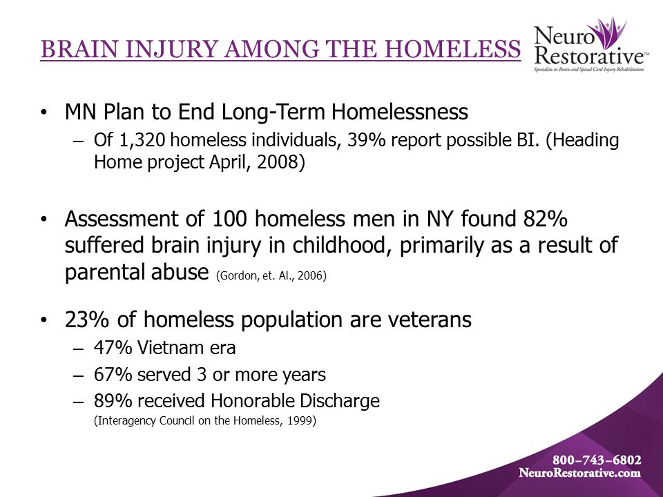 BRAIN INJURY AMONG THE HOMELESS MN Plan to End Long-Term Homelessness – Of 1,320 homeless individuals, 39% report possible BI.