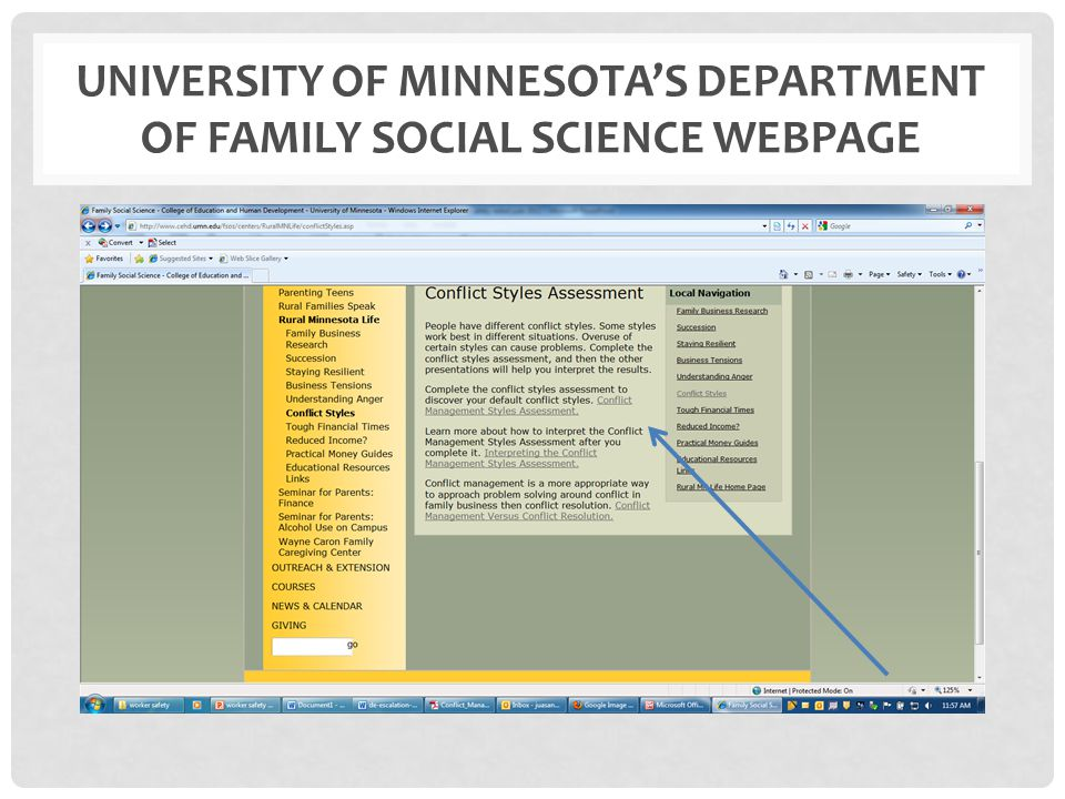 UNIVERSITY OF MINNESOTA'S DEPARTMENT OF FAMILY SOCIAL SCIENCE WEBPAGE