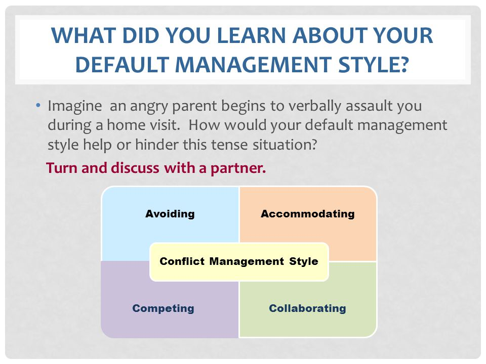 WHAT DID YOU LEARN ABOUT YOUR DEFAULT MANAGEMENT STYLE? Imagine an angry parent begins to verbally assault you during a home visit. How would your def