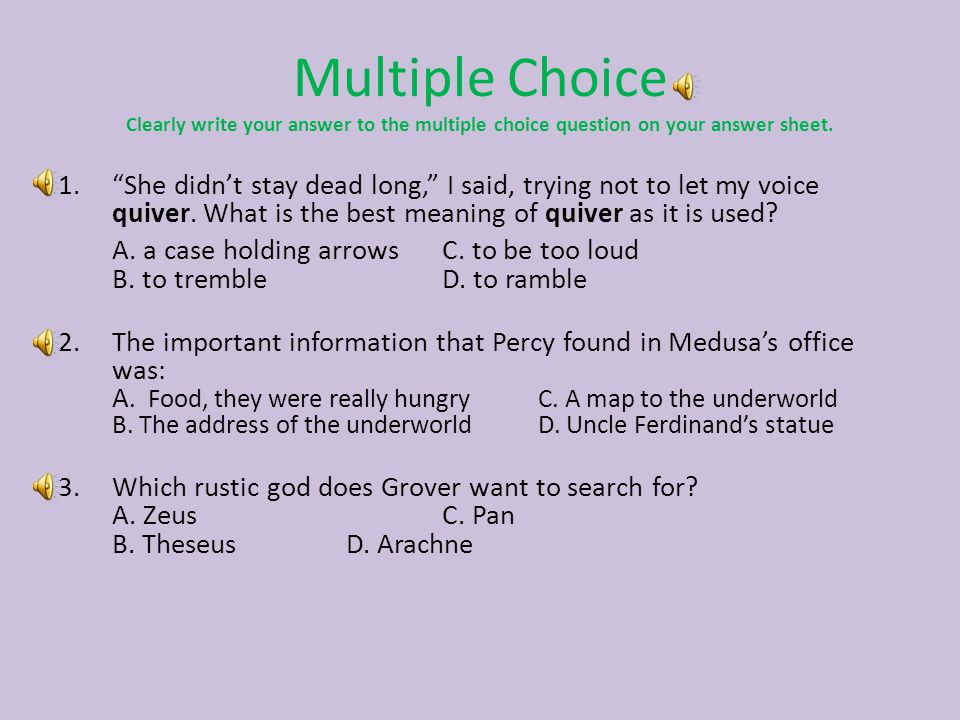 Percy Jackson and the Lightning Thief Ch. 10-15 Test