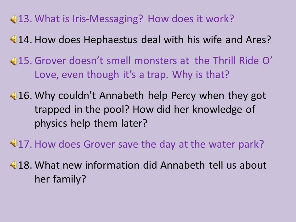 13.What is Iris-Messaging.How does it work. 14.How does Hephaestus deal with his wife and Ares.
