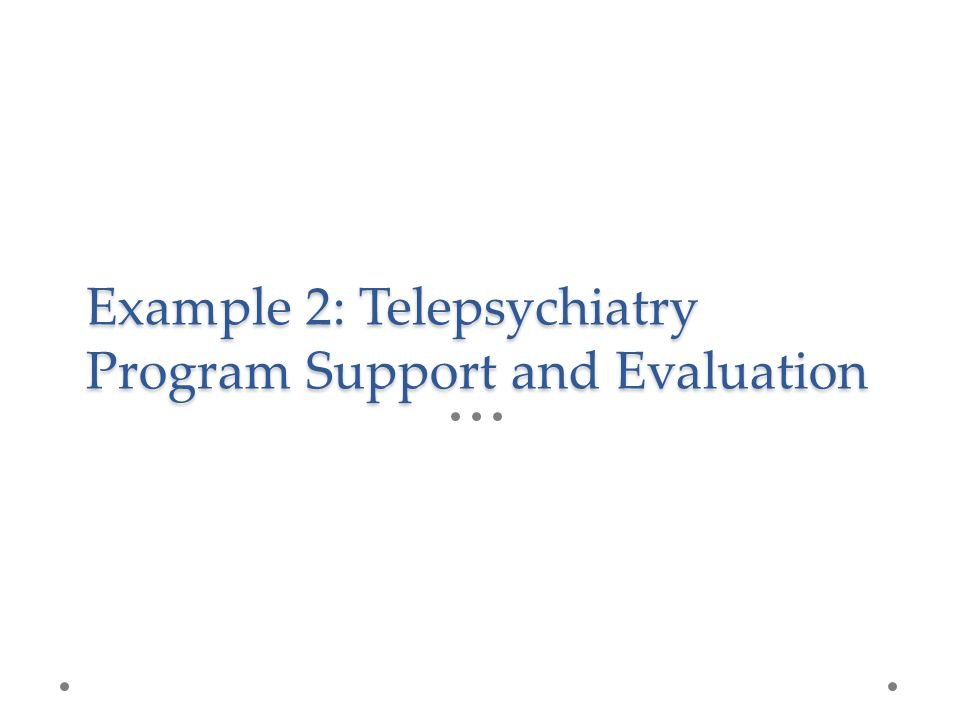 Example 2: Telepsychiatry Program Support and Evaluation