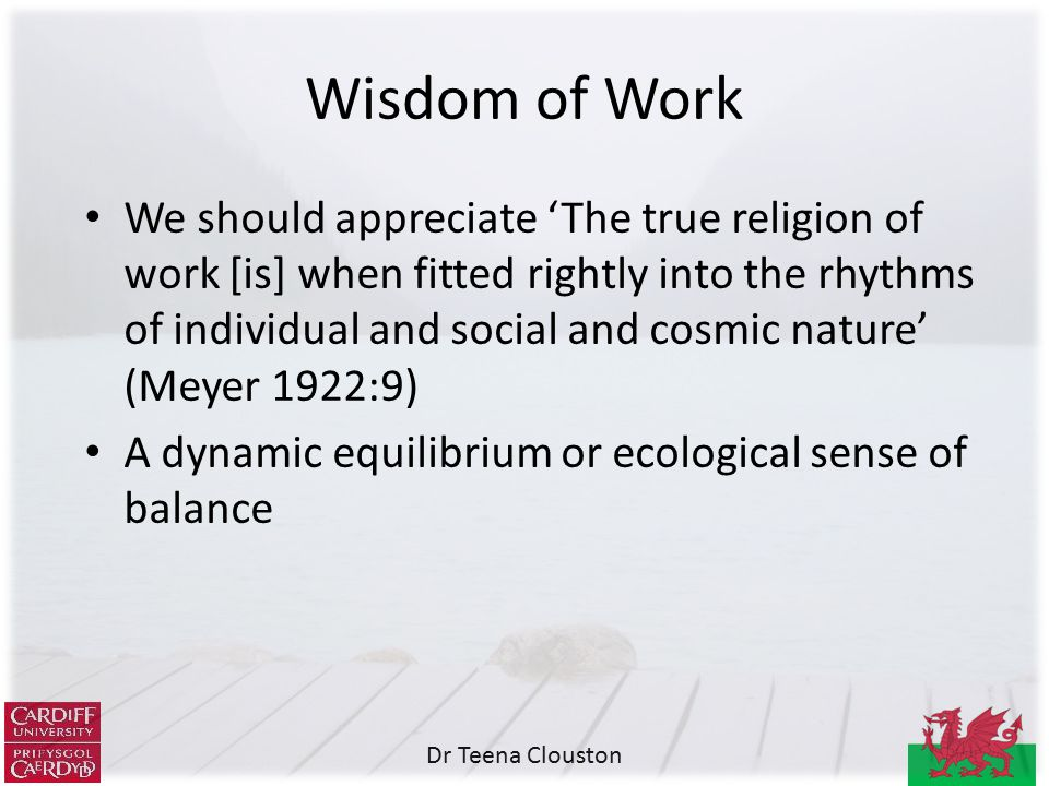 Dr Teena Clouston We should appreciate 'The true religion of work [is] when fitted rightly into the rhythms of individual and social and cosmic nature' (Meyer 1922:9) A dynamic equilibrium or ecological sense of balance Wisdom of Work