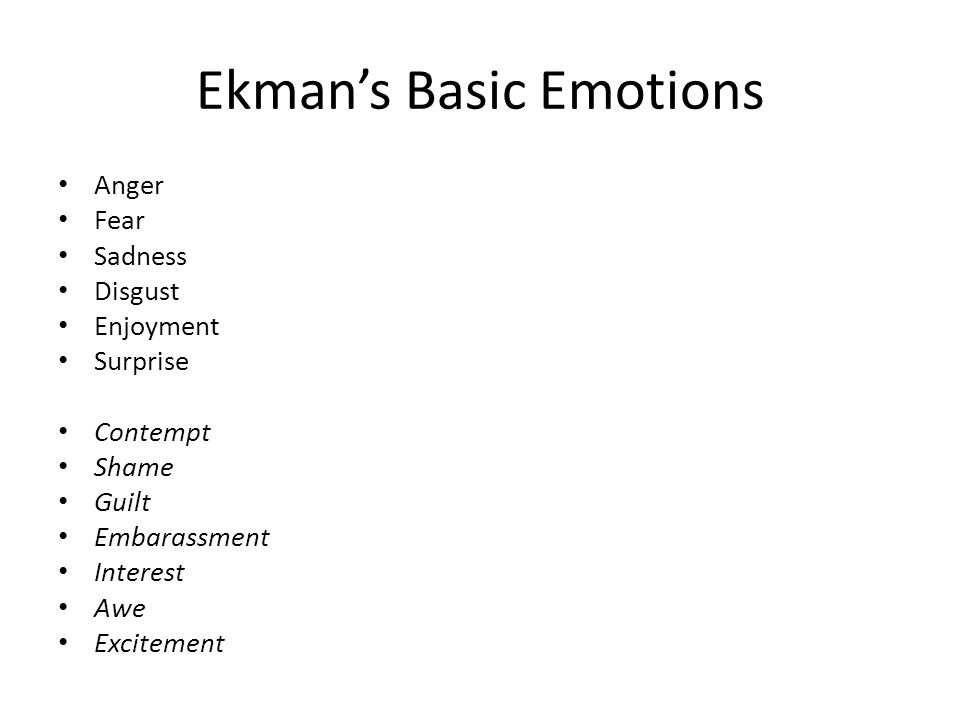 Ekman's Basic Emotions Anger Fear Sadness Disgust Enjoyment Surprise Contempt Shame Guilt Embarassment Interest Awe Excitement