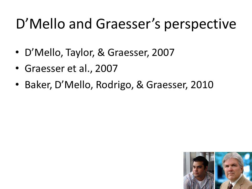 D'Mello and Graesser's perspective D'Mello, Taylor, & Graesser, 2007 Graesser et al., 2007 Baker, D'Mello, Rodrigo, & Graesser, 2010