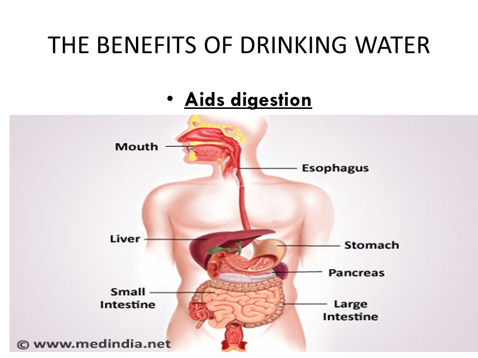 THE BENEFITS OF DRINKING WATER Aids digestion