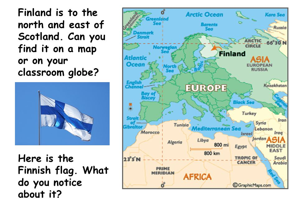 Finland is to the north and east of Scotland. Can you find it on a map or on your classroom globe.