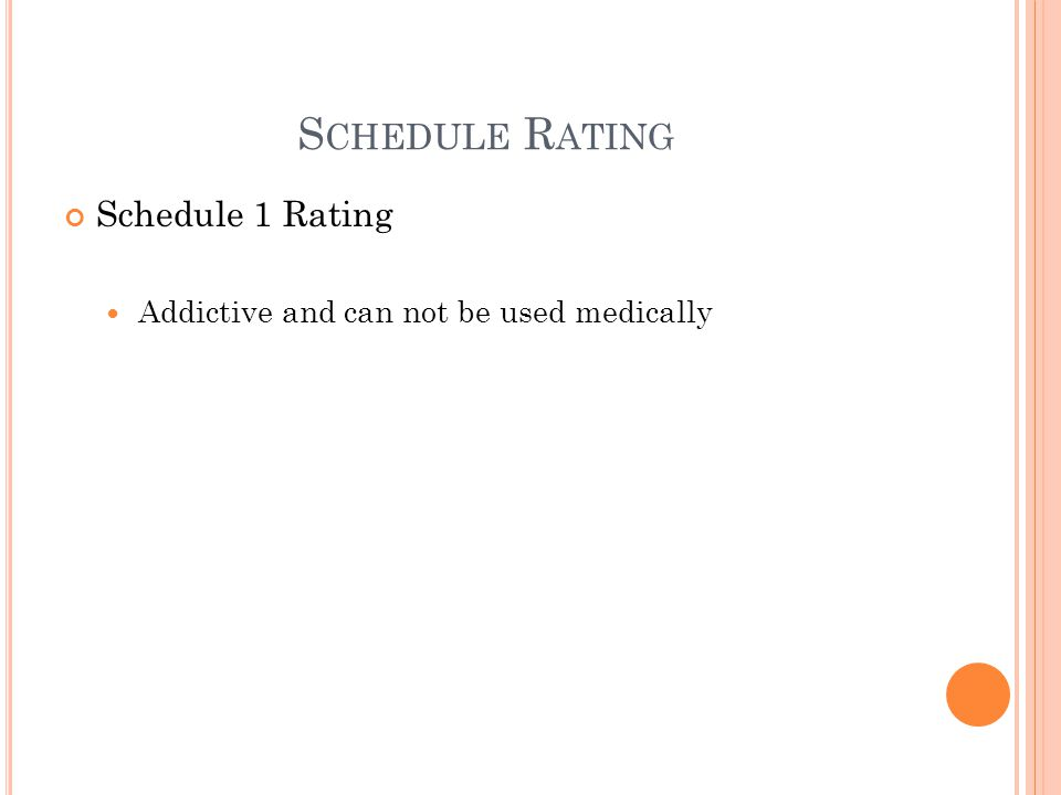 S CHEDULE R ATING Schedule 1 Rating Addictive and can not be used medically