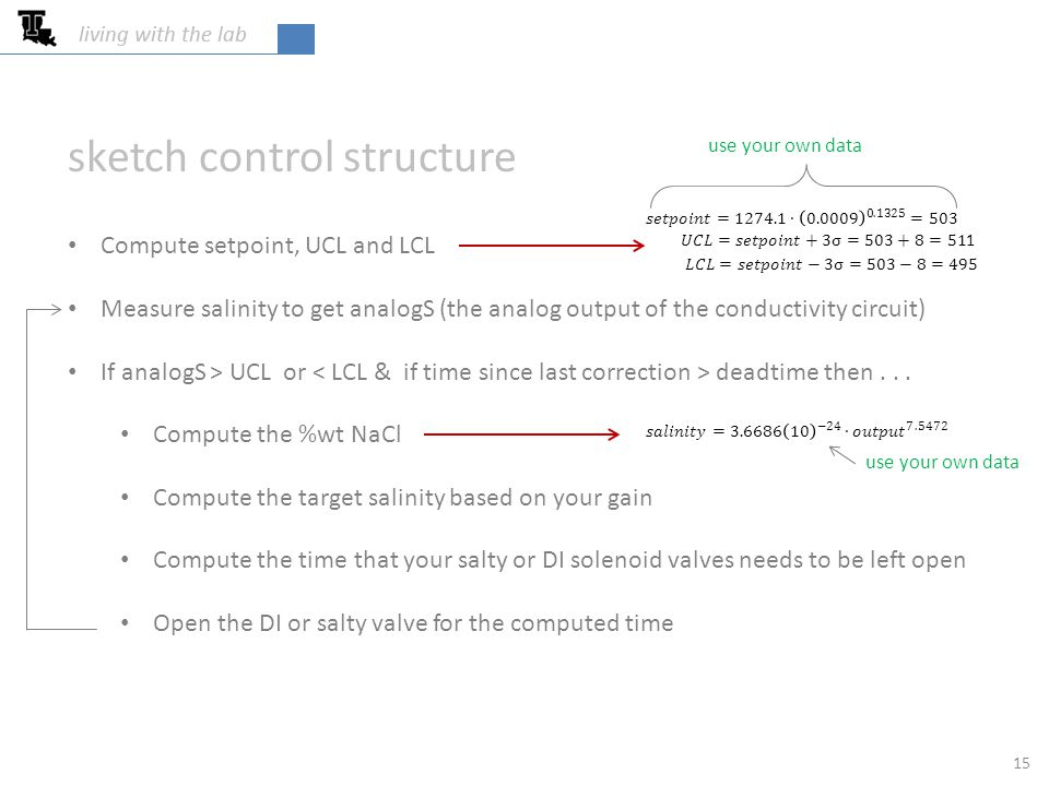 sketch control structure Compute setpoint, UCL and LCL Measure salinity to get analogS (the analog output of the conductivity circuit) If analogS > UCL or deadtime then...