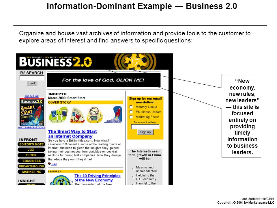 Last Updated: 10/03/01 Copyright  2001 by Marketspace LLC Information-Dominant Example — Business 2.0 Organize and house vast archives of information and provide tools to the customer to explore areas of interest and find answers to specific questions: New economy, new rules, new leaders — this site is focused entirely on providing timely information to business leaders.