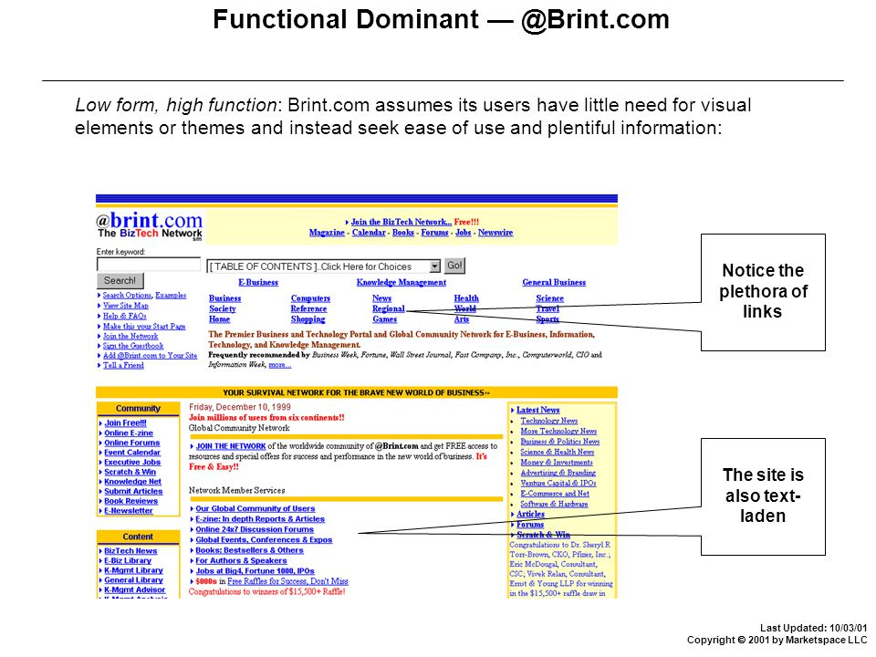Last Updated: 10/03/01 Copyright  2001 by Marketspace LLC Functional Dominant — @Brint.com Low form, high function: Brint.com assumes its users have little need for visual elements or themes and instead seek ease of use and plentiful information: Notice the plethora of links The site is also text- laden