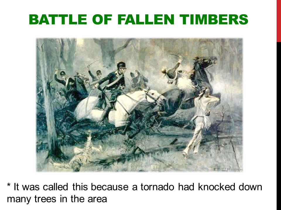 BATTLE OF FALLEN TIMBERS * It was called this because a tornado had knocked down many trees in the area