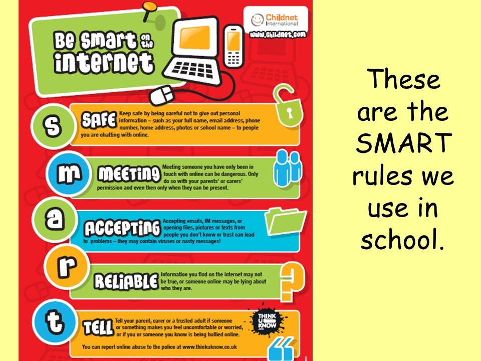These are the SMART rules we use in school.