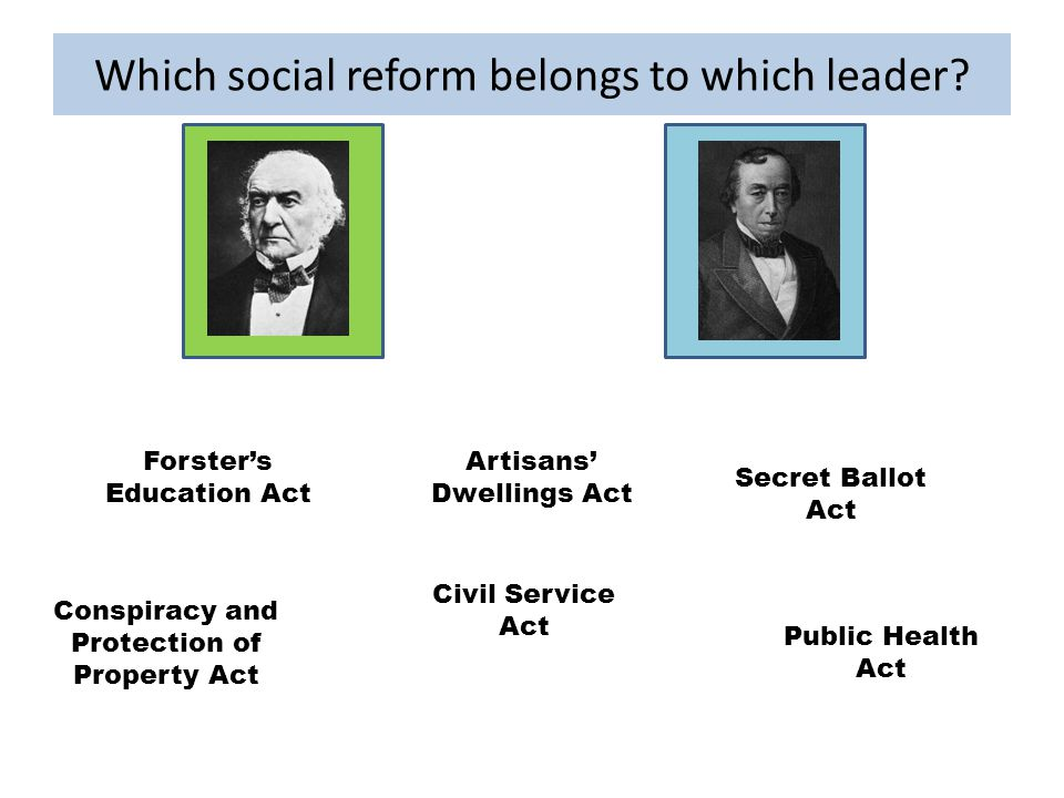 Which social reform belongs to which leader.
