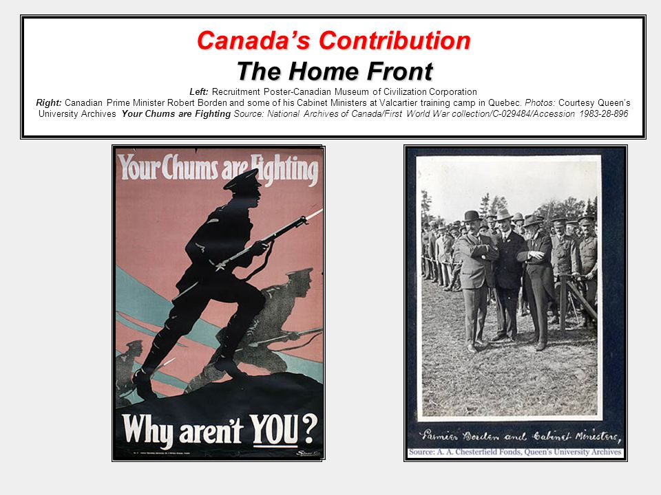 Canada's Contribution The Home Front Canada's Contribution The Home Front Left: Recruitment Poster-Canadian Museum of Civilization Corporation Right: Canadian Prime Minister Robert Borden and some of his Cabinet Ministers at Valcartier training camp in Quebec.