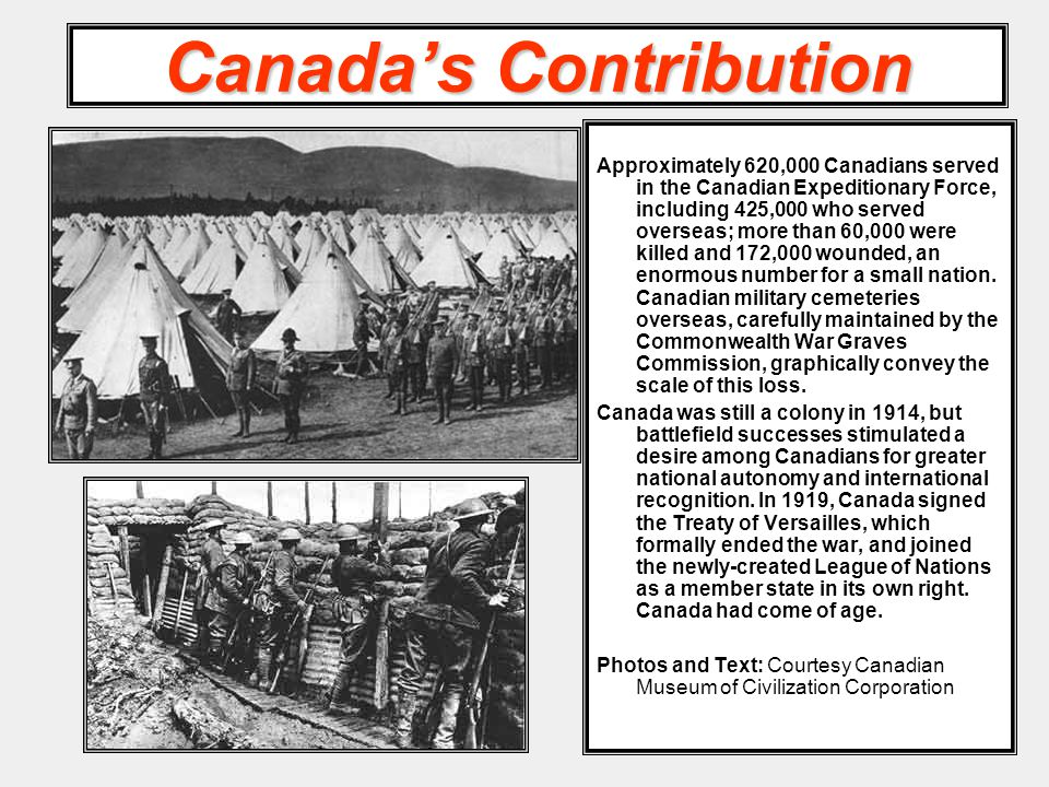 Canada's Contribution Approximately 620,000 Canadians served in the Canadian Expeditionary Force, including 425,000 who served overseas; more than 60,000 were killed and 172,000 wounded, an enormous number for a small nation.