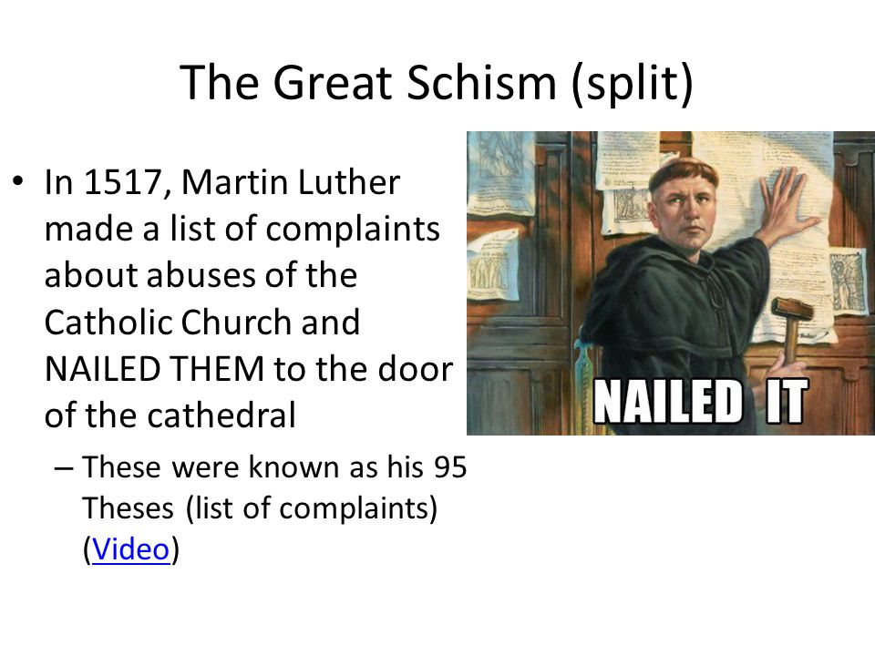 Luther 's 95 Theses (Complaints): Challenged authority of the Pope (leader of Catholic Church) Wanted to reform the practices of the faith: – Forgiveness through faith alone not paying of indulgences (video)video Why we call this change the REFORMATION – (Because he was making reforms)