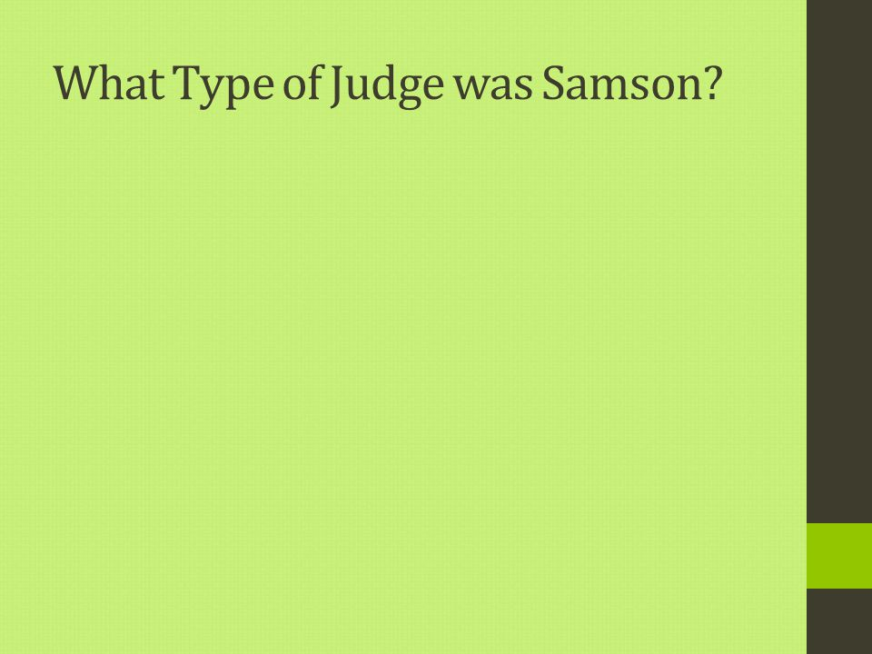 What Type of Judge was Samson?