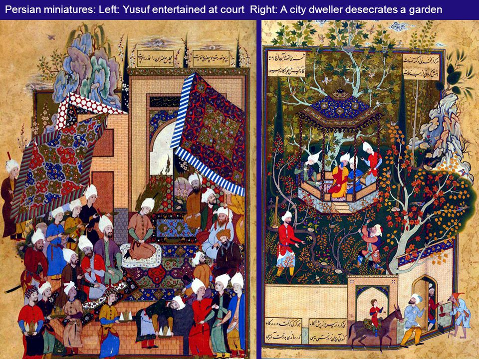 Persian miniatures: Barbad The Concealed Musician (l.) & Majnun Eavesdrops On Layla's Camp (r)