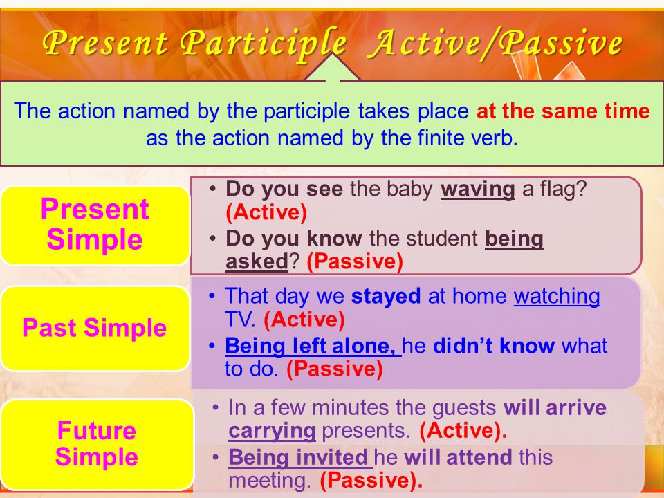 Present Participle Active/Passive The action named by the participle takes place at the same time as the action named by the finite verb.