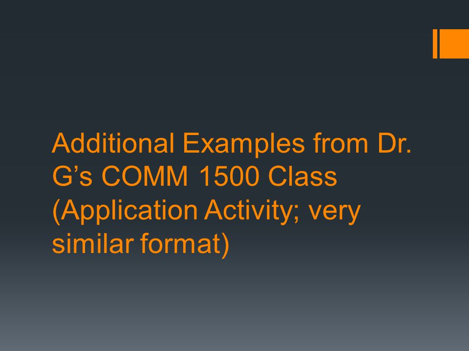 Additional Examples from Dr. G's COMM 1500 Class (Application Activity; very similar format)