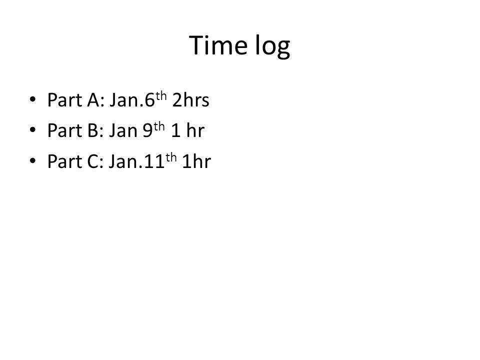 Time log Part A: Jan.6 th 2hrs Part B: Jan 9 th 1 hr Part C: Jan.11 th 1hr