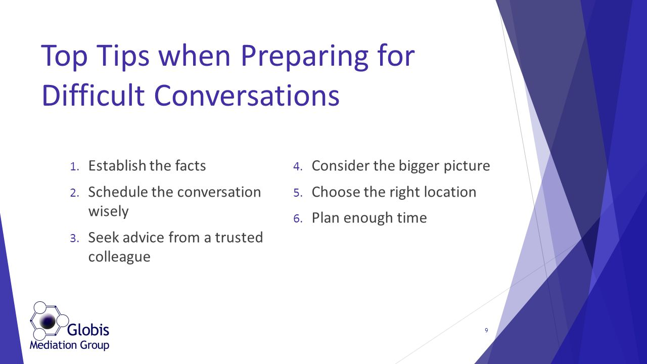 1. Establish the facts 2. Schedule the conversation wisely 3.