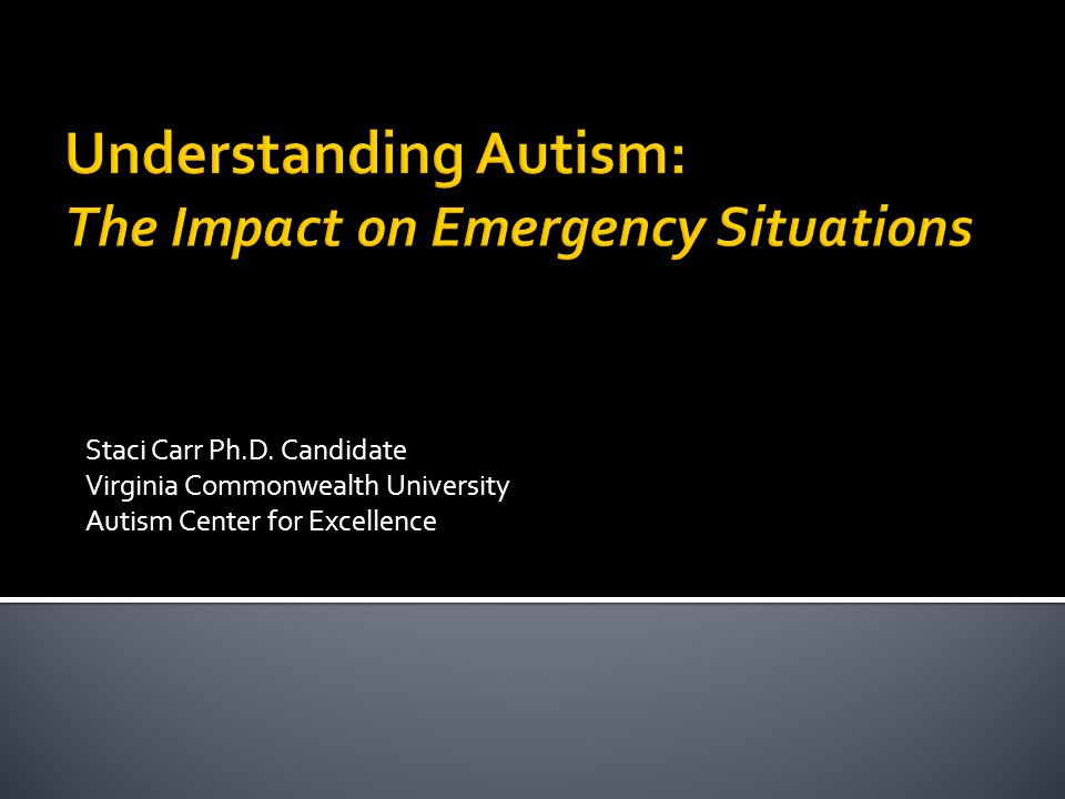 Staci Carr Ph.D. Candidate Virginia Commonwealth University Autism Center for Excellence