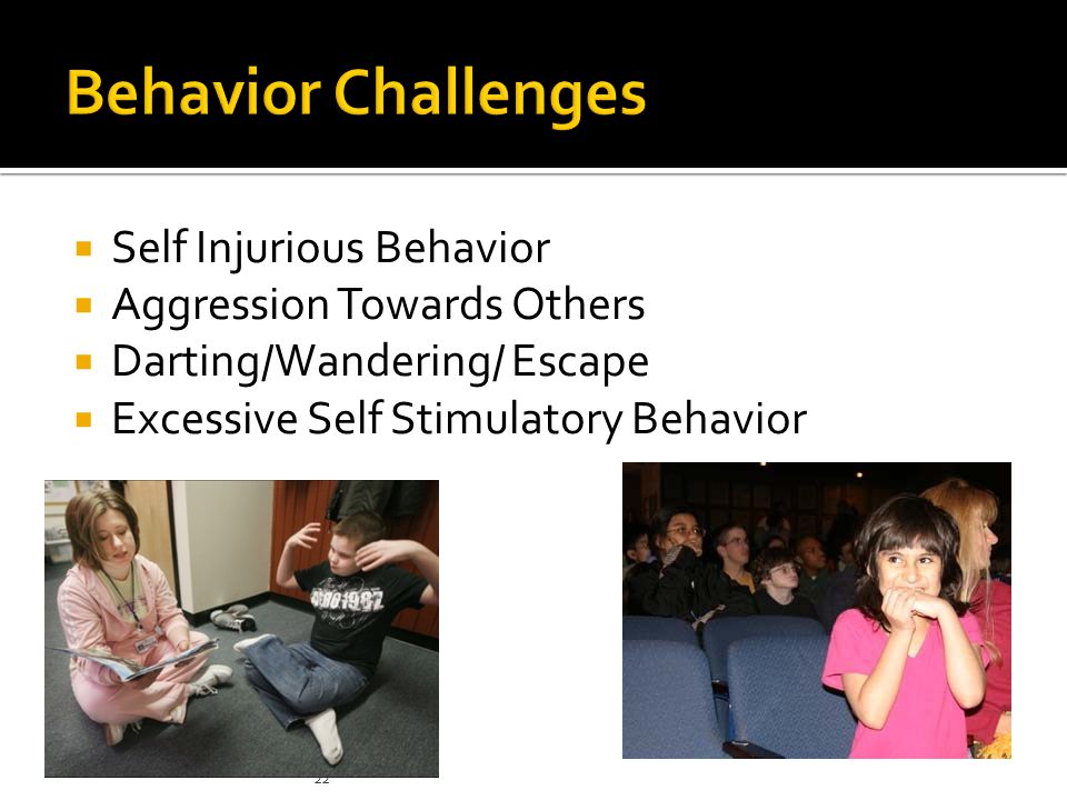  Self Injurious Behavior  Aggression Towards Others  Darting/Wandering/ Escape  Excessive Self Stimulatory Behavior 22