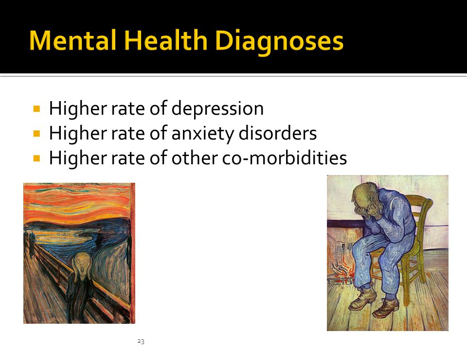  Higher rate of depression  Higher rate of anxiety disorders  Higher rate of other co-morbidities 23